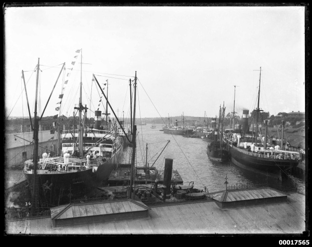 Numerous vessels moored at Woolloomooloo wharf, including MANNHEIM to the left. Mai 1914