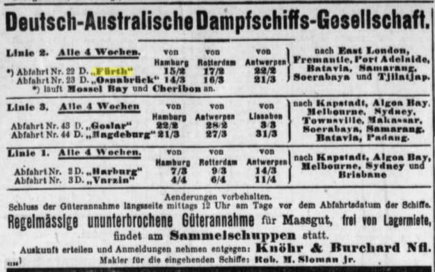 advertisement of February, 14th, 1908, German-Australian Steam Ship Co.