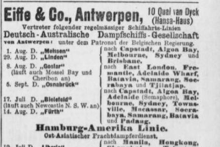 Eiife und Co. Antwerpen, Agent, Hansa-Haus