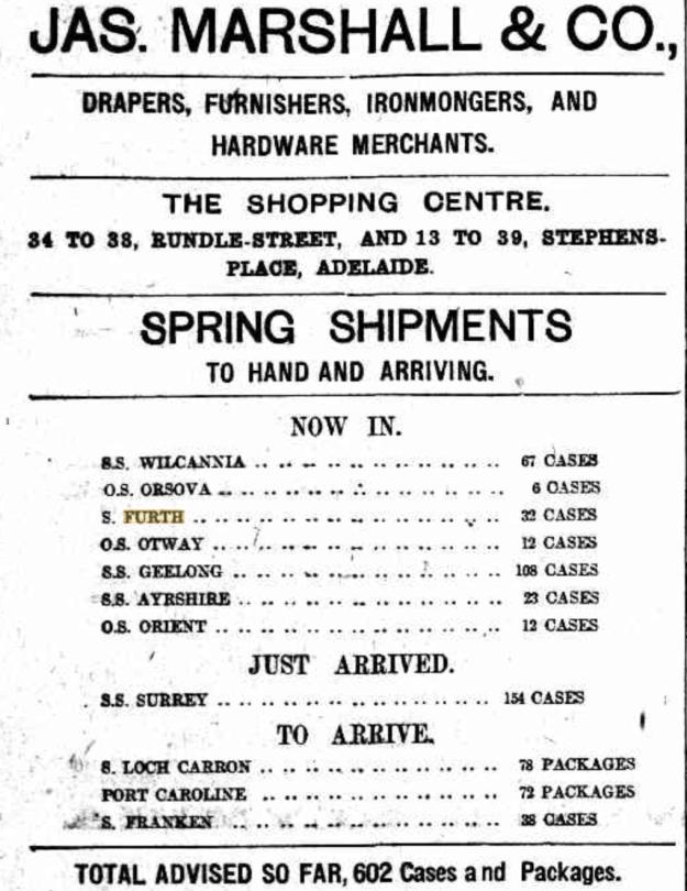 Jas. Marshall & Co. advertisement September 1909
