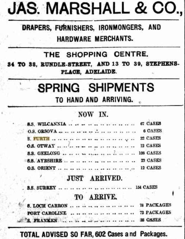 Jas. Marshall & Co. advertisement September 1909