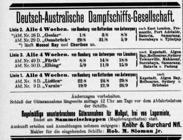Advertisement German Australian Steam Ship Co., Hansa, August 1908