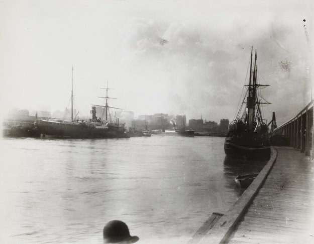 Black and white image depicting sailing ships and steam ships at Victoria Dock, circa 1905