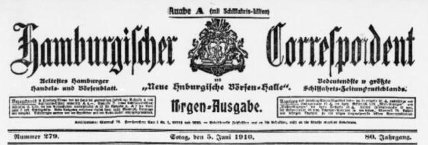 """Hamburgischer Correspondent und Neue Hamburgische Börsen-Halle, Titelseite vom 5. Juni 1910, """"Bedeutenste und größte Schiffahrtszeitung Deutschlands"""""""