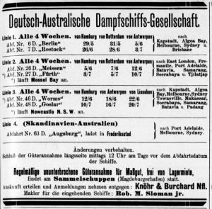 German Australian Steam Ship Co., advertisement Hansa May 1909