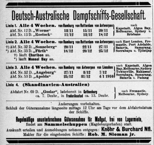 Advertisement in Hansa, nautical magazine, November 1909