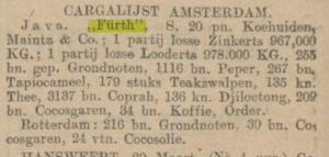 cargalijst amsterdam, steamship Furth, March 30, 1911