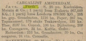 cargalijst amsterdam, steamship Furth, March 30, 1911