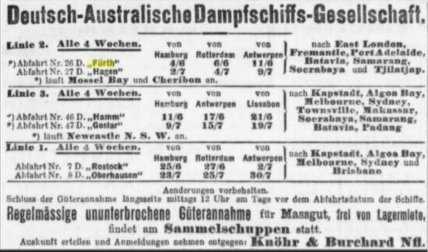 German Australian Line, advertisement May 1910
