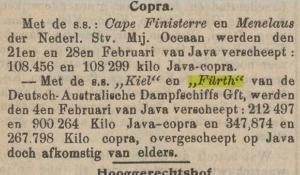 copra, export from java, 1911