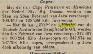 copra, export from java, 1911