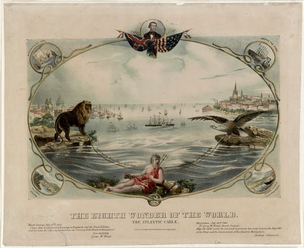 Allegorical scene showing Neptune with a trident in foreground, and lion representing Great Britain holding one end of the Atlantic cable and eagle representing the United States holding the other end of the cable, with ocean between them and cities behind them. Includes portrait of the inventor, Cyrus Field, at top center.