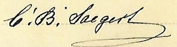 master's signature, C. B. Saegert, stemship Fürth