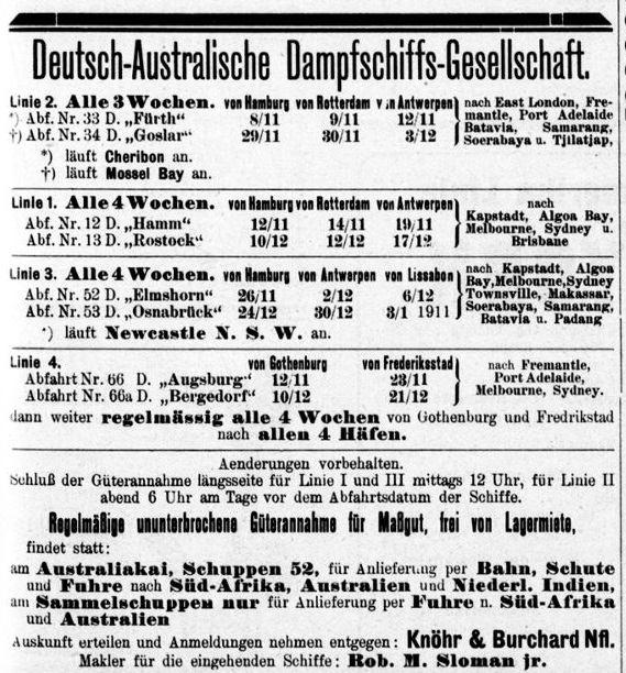 German Australian Steam Ship Co., advertisement in Hansa, November 1910