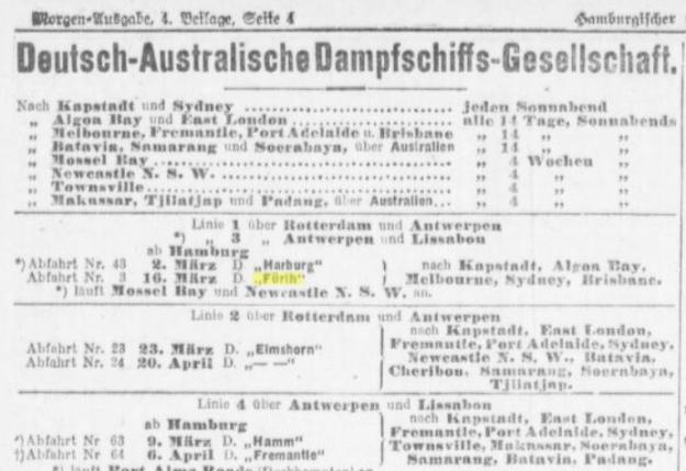 Advertisement German Australian Line February 1912