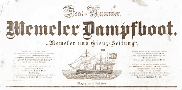 Memeler Dampfboot, newspaper, July 1899