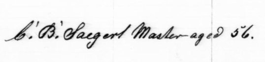 Master C. B. Saegert, 56 years old, March 21, 1909