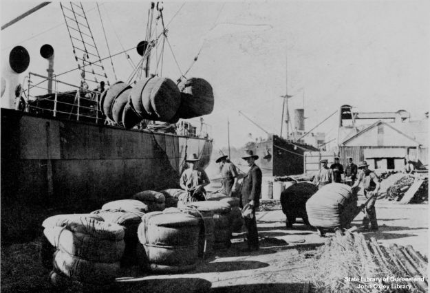 Loading bales of wool onto a ship, Queensland, about 1910