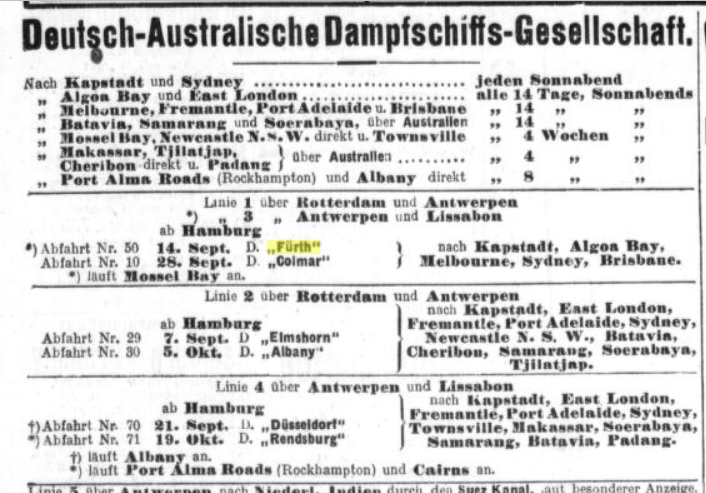 German Australian Line's Advertisment, September 1912 (detail)