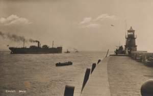 Emden, Germany, mole, postcard 1922