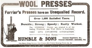 ferrier's wool presses, advertising 1912