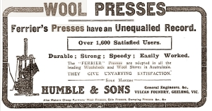 ferrier's wool presses, advertising 1912