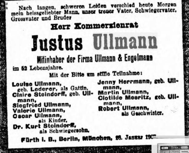 Justus Ullmann, gestorben im Januar 1907