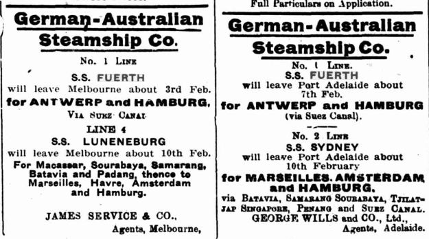 James Service, Melbourne and George Wills, Adelaide, agents of the German Australian line, January 27th, 1914 in Daily Commercial News and Shipping List, Sydney