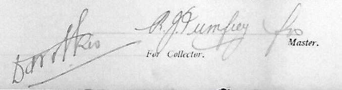 signatures crew list, outward Brisbane, SS Fuerth, July 10th 1914