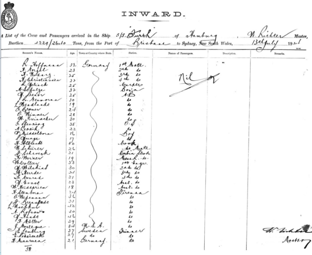 crew list, SS Fuerth, Sydney July 13th, 1914, shipping master's office