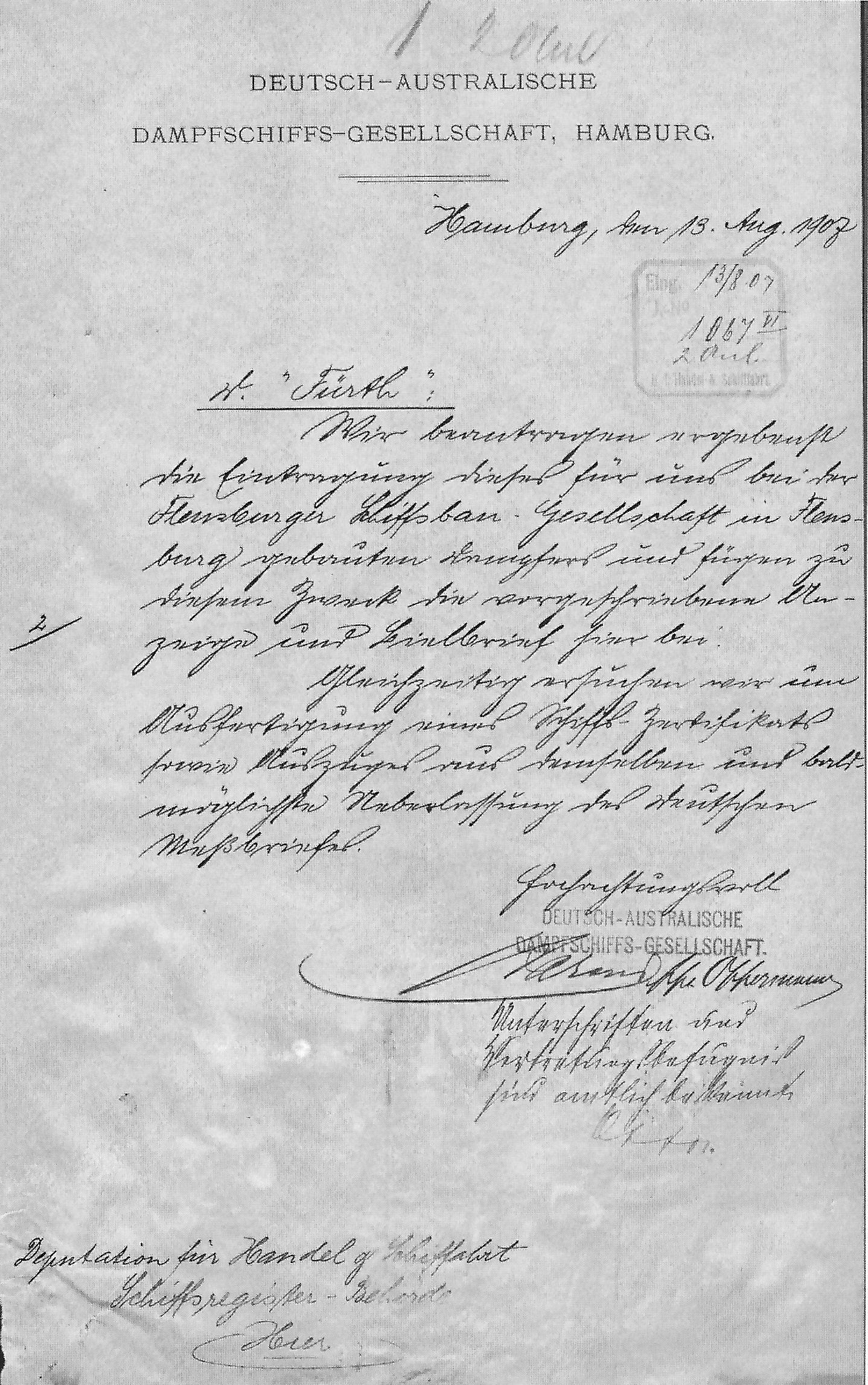 steamship Fürth, registration documents, Hamburg