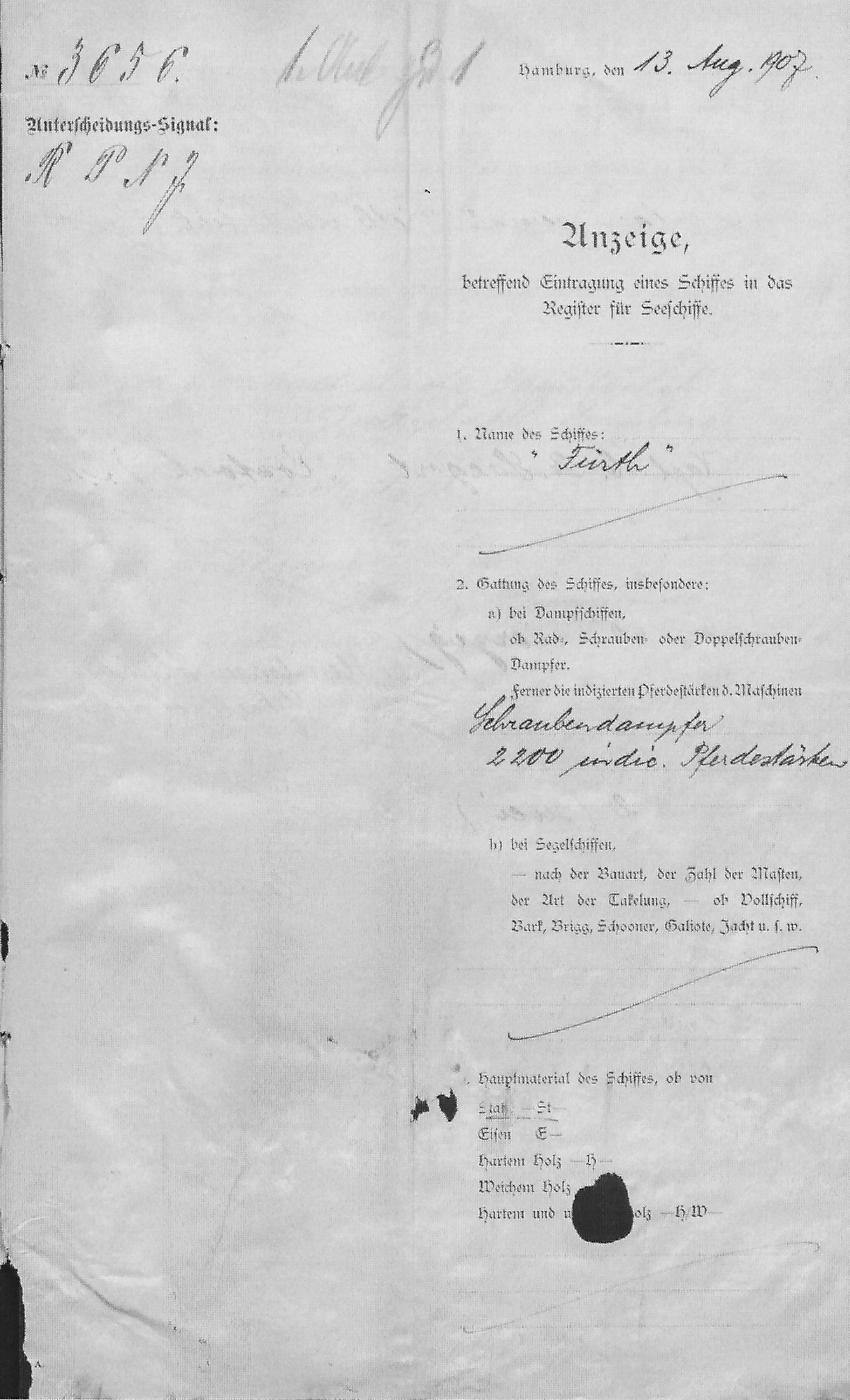 steam ship Furth, registration documents, Hamburg