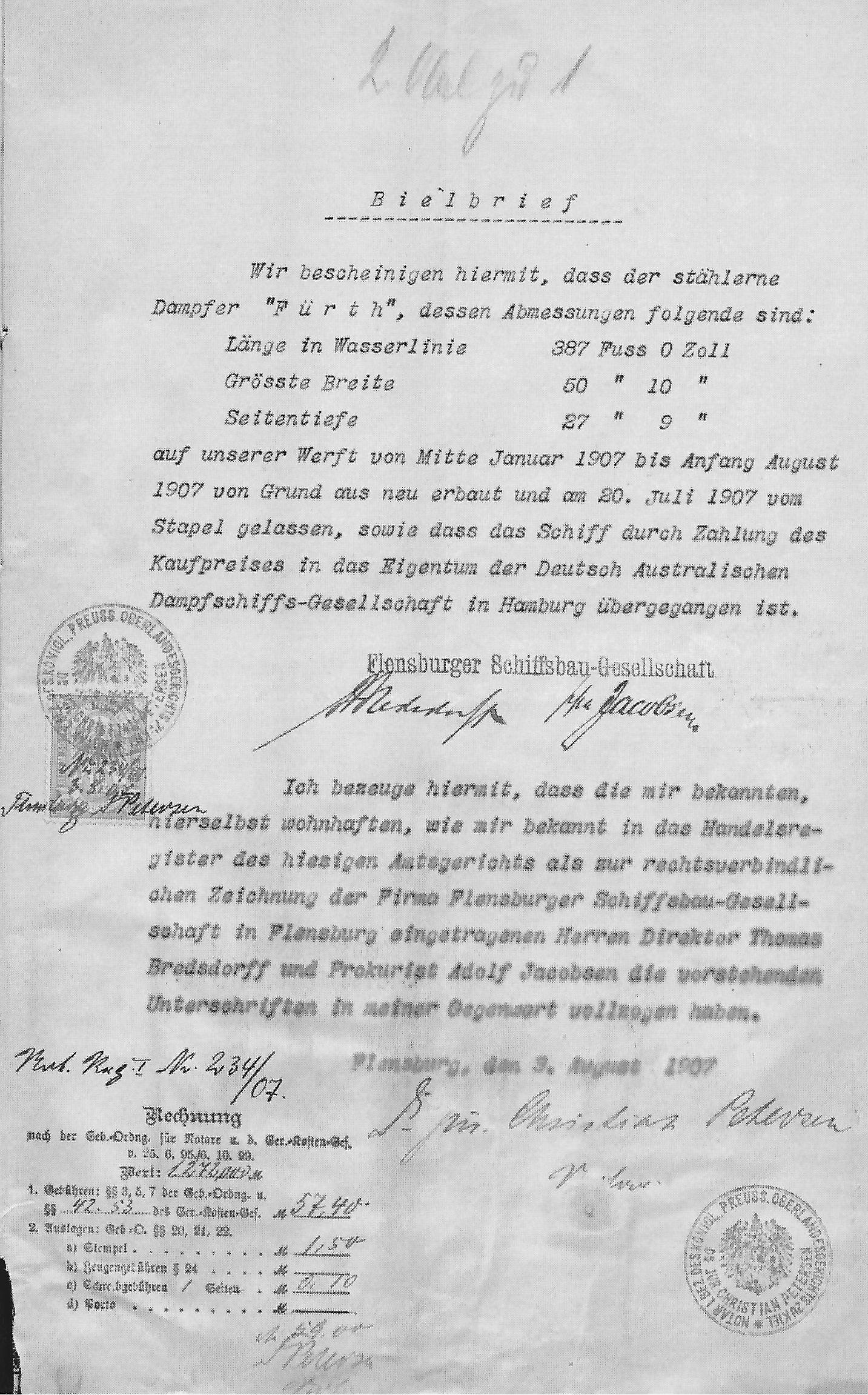 steam ship Furth, Bielbrief, registration documents, Hamburg