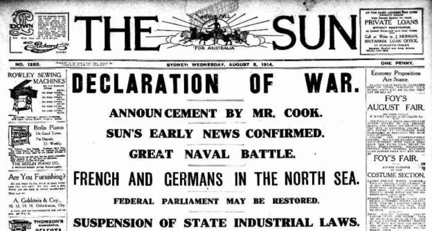 The Sun, Sydney, Titel, August 5th, 1914