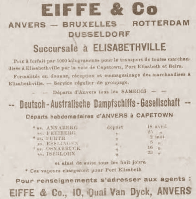 Eiffe & Co., Anvers, Le Journal du Congo