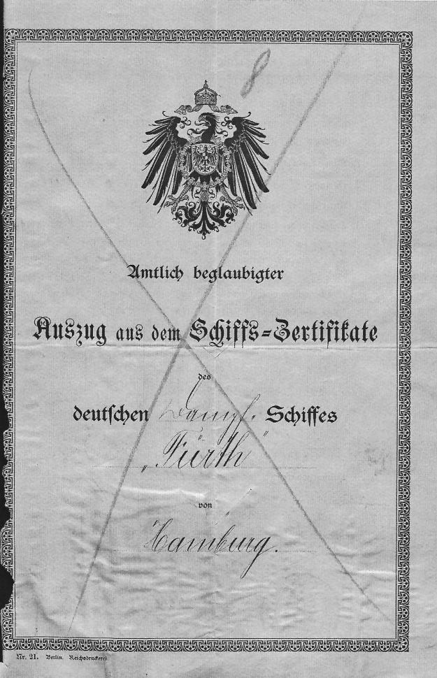 certificate steamship Furth
