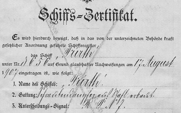steamer Furth, certificate, detail