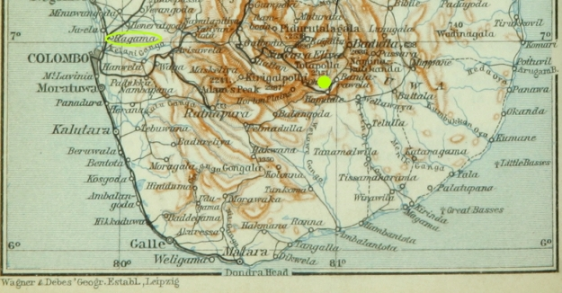 ceylon, Ragama Camp and Diyatalawa Camp (yellow dot)