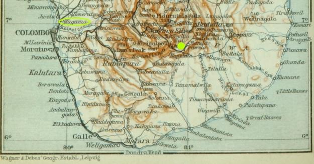 ceylon, Ragama Camp and Diyatalawa Camp (yellow dot)