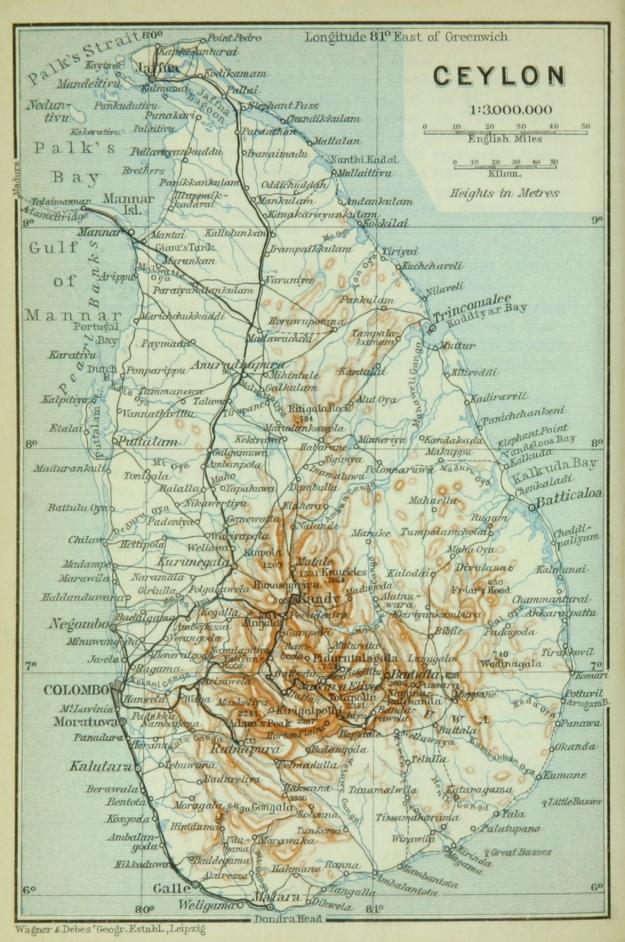 Ceylon map 1914, Baedeker