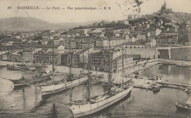 Marseille, port, vue panoramique