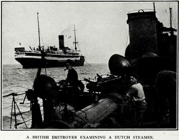 A BRITISH DESTROYER EXAMINING A DUTCH STEAMER.