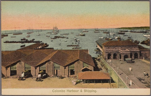 colombo harbour, panorama from GOH, 1907, colored postcard