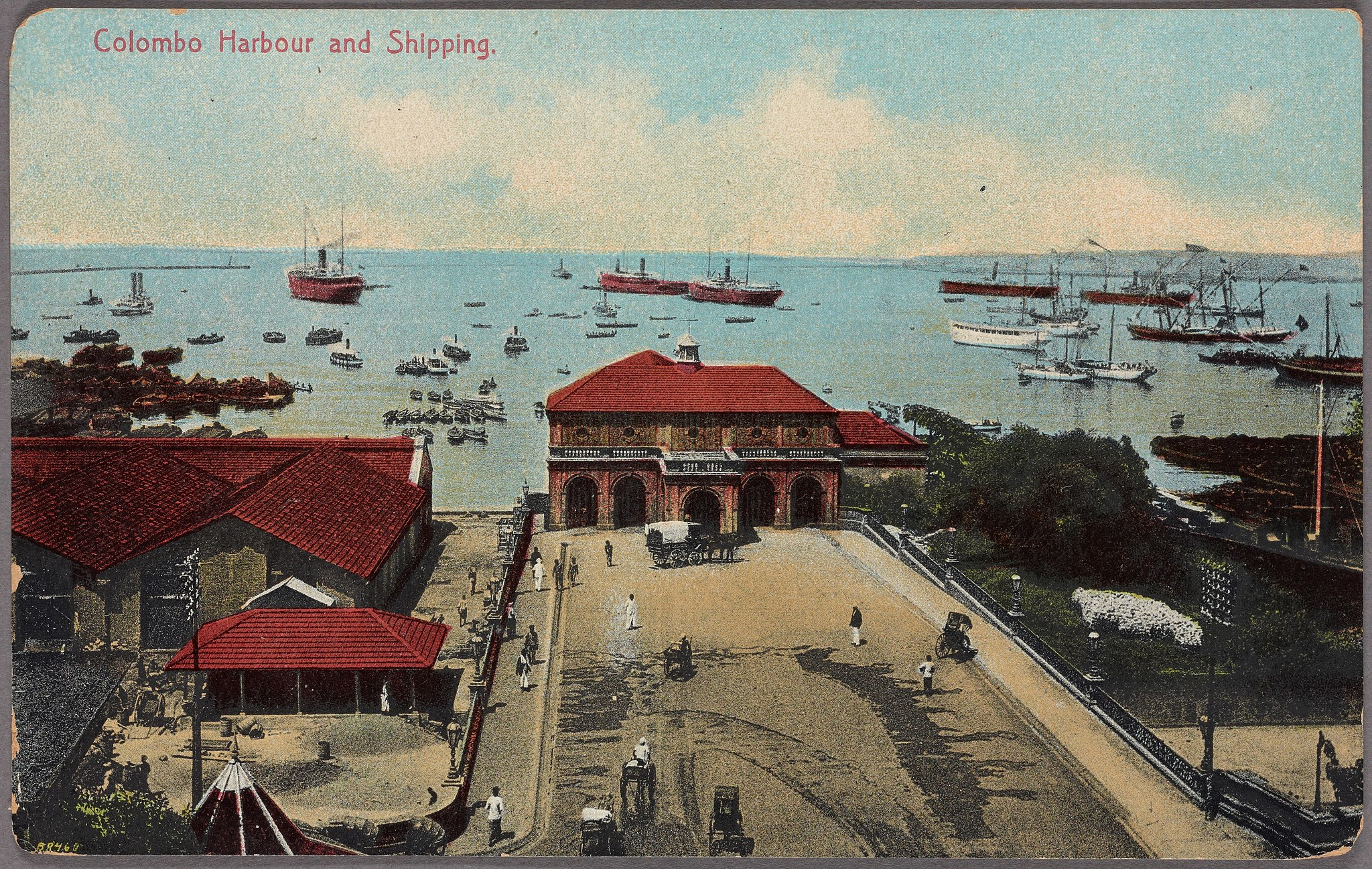 colombo harbour, 1907, panorama from GOH,