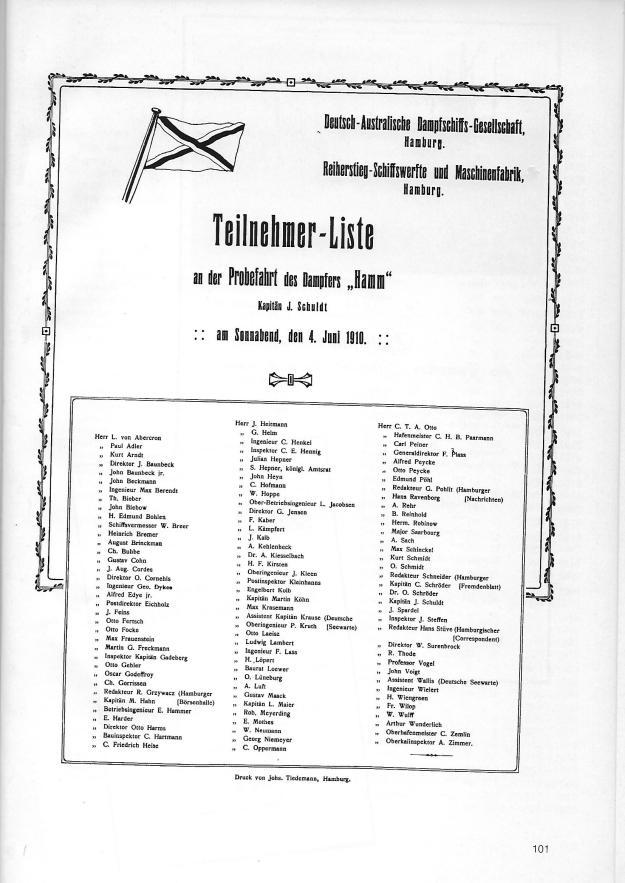 """Teilnehmerliste der Probefahrt des Dampfers """"Hamm"""" am 4. Juni 1910, © Reinhart Schmelzkopf"""