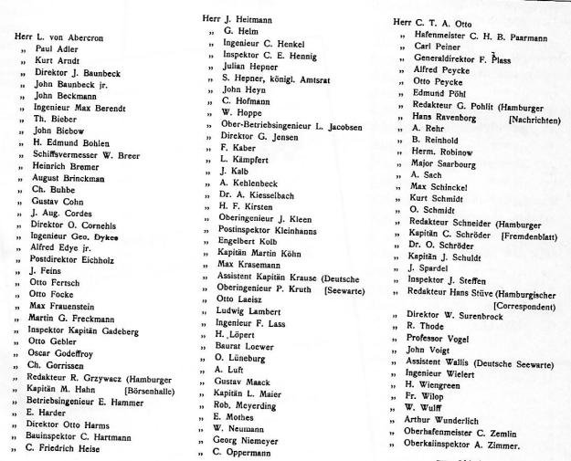 """Teilnehmerliste der Probefahrt des Dampfers """"Hamm"""" am 4. Juni 1910, Ausschnitt, © Reinhart Schmelzkopf Deutsch-Australische Dampfschiffs-Gesellschaft, Hamburg 1888 – 1926, erschienen 1984 im Eigenverlag (Strandgut-Publikation)"""
