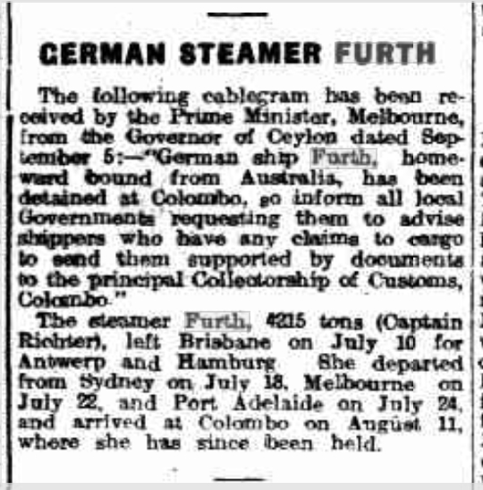 German Steamer Furth, Daily Herald Adelaide, Ausgabe vom 9. September 1914, Seite 6, Quelle: National Library of Australia