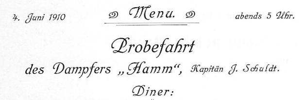 Probefahrt Dampfer Hamm Menü