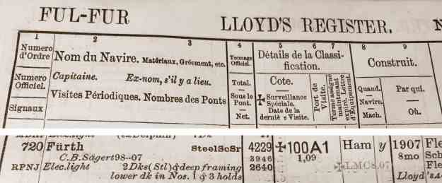 Lloyd's Register 1909, Fürth