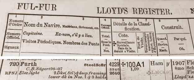 Lloyd's Register 1909, Fürth